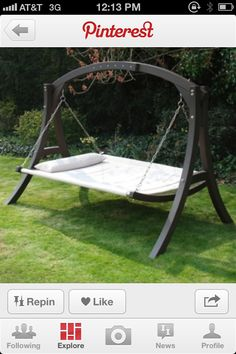 it's a hammock, no it's a swing, no it's a bed! (hammock with stand bar) Backyard Hammock, Hammock Swing, Hammock Ideas, Swing Beds, Outdoor Living, Outdoor Decor, Swinging Chair, Outdoor Projects, My Dream Home