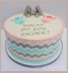 Chevron Gender Reveal Cake. And then have the inside of the cake be either blue or pink!
