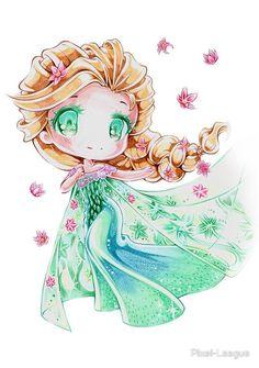 Chibi Princess Ariel by Lighane Anime Pokemon, Anime Chibi, Manga Anime, Anime Art, Pokemon Cards, Chibi Disney, Disney And Dreamworks, Kawaii Chibi, Cute Chibi