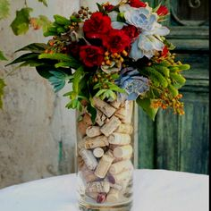 Flower arrangement with used corks.
