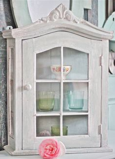 Primitive Wall Cabinet with Door Cottage Chic by MariesMaison. $55.00, via Etsy.