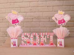 Centros de mesa Peppa Pig Peppa Pig Pictures, Pig Party, 3rd Birthday, Alice, Birthdays, Arwen, Ideas Para, Tiffany, Party Ideas