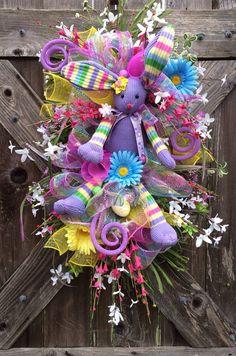 Spring Swag, Spring Wreath, Easter Swag, Easter Wreath, Easter Door Hanging, Lavender Bunny Hip Hop Hooray on Etsy, $89.00
