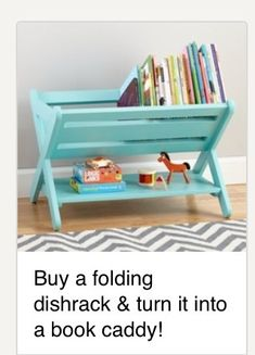 Buy A Folding Dish Rack And Turn It Into A Book Caddy!