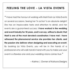 cool vancouver wedding Testimonial Tuesday!  I've had the pleasure of working with the lovely Karina many times so this kind message from her really made me feel so proud. I take great pride in my work & appreciate it so much when others notice  by @lavistaevents  #vancouverwedding #vancouverwedding
