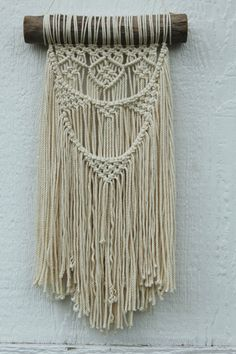 Macrame Wall Hanging on driftwood with 100% cotton rope in off white