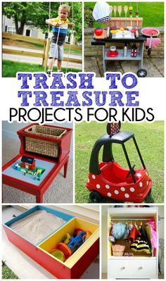 Don't throw that away! 10 AWESOME trash to treasure upcycle ideas for kids! Save money and create a piece that is unique, practical and stand outs!