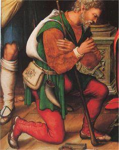 Calzas con bragueta abultada y terminadas a modo de polainas. El personaje que está detrás lleva las calzas caídas. Adoración de los pastores, retablo de San Vicente, Juan Vicente Macip (Juan de Juanes), hacia 1525-30, Museo Diocesano de Segorbe, Castellón