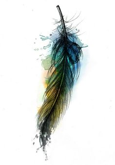 Watercolor Feather Tattoo Watercolor tattoo, maybe arrow Watercolor Tattoo Feather, Feather Tattoos, Watercolor Art, Feather Art, Tatoos, Watercolor Background, Raven Feather, Dandelion Tattoos, Watercolor Peacock