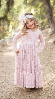A-Line Lace Flower Girl Dresses Ankle Length Jewel Neckline Long Sleeves Toddler Pageant First Communication Dress High Quality Vintage Flower Girls, Flower Girl Dresses Boho, Lace Flower Girls, Girls Dresses, Toddler Pageant, Pakistani Formal Dresses, Beautiful Gowns, Special Occasion Dresses, Homecoming Dresses