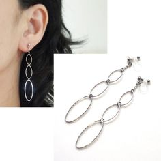 Pierced Look Silver Hoop Invisible Clip On Earrings Dangle Long Comfortable