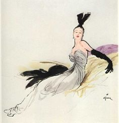 Illustration by Rene Gruau for Christian Dior