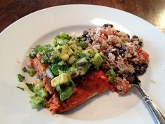 Parents deserve to be healthy, too!  Avocado salmon - one of the sample meal creations this blogger is eating now that she's decided to be healthier.  Doesn't consider herself to be on a diet, just making better choices.  What a great example of making realistic changes for better health!