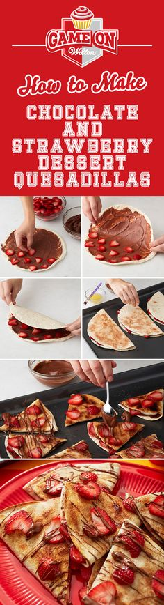 How to Make Chocolate & Strawberry Dessert Quesadillas - This is a game changer. Cream cheese dessert quesadillas! This quick game day snack combines chocolate hazelnut and strawberry cream cheese filling with a crunchy cinnamon sugar crumble. Bring it to your tailgate or football party!