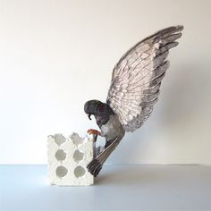 Rock pigeon, 2015 Holly Dormor Textile art Soft sculpture Small art