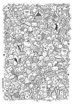 Free Doodle Coloring Page | Ausmalen für Erwachsene