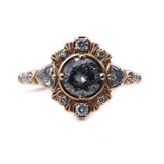 Grey Galaxy Diamond Engagement Ring with Diamond Trillions and