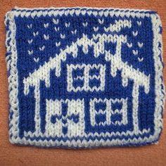 Winter hut coaster Knitting pattern by Sandra Jäger Knitting Charts, Knitting Patterns, Knit Shawls, Double Knitting, Tricks, Crocheting, Knit Crochet, Coasters, Household