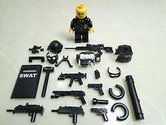 No 17 8 Custom SWAT Team Helmet Weapson Gun Police Army Parts for Lego | eBay