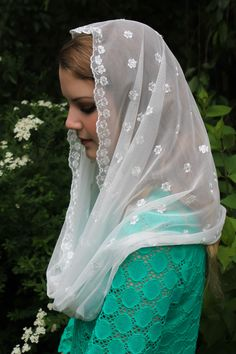Evintage Veils~ Our Lady of Fatima Cream White Imported  Lace Chapel Veil Mantilla Infinity Latin Mass by EvintageVeils on Etsy
