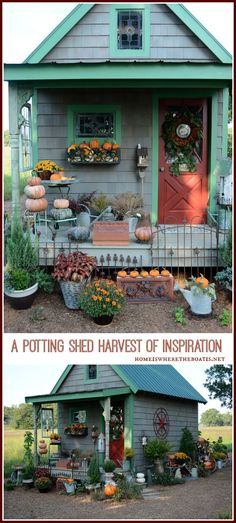 Growing a Potting Shed from the ground up. A harvest of inspiration and blend of new and salvage materials, galvanized sheet metal counters and windows dressed with landscaping burlap! #gardening #pottingshed