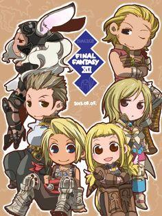 Final Fantasy 12 cast: Fran, Balthier, Vaan, Penelo, Ashe, Basch Final Fantasy Xii, Fantasy Art, Metroid, Art Journal Inspiration, Anime Chibi, Anime Love, Game Art, Nerdy, Video Games