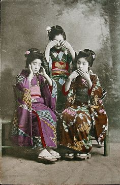 "Out of the thousands of geisha postcards circulated between the late 19th and early 20th centuries, a great many depict the ""hear, see, speak no evil"" theme. While it is certainly a sexist allusion to gossiping and chit-chat, it also happens to go to the core of the geisha mystique. Or so it was back in the 1910s."