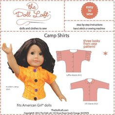 Looking for a sewing pattern for your next project? Look no further than Shirts for American Girl and 18
