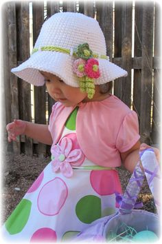 CROCHET PATTERN - Spring Garden - a spring/summer hat with flowers in 6 sizes (Infant - Adult S) - Instant PDF Download Love the embellishment on this one!