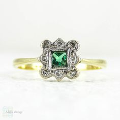 French Cut Emerald & Diamond Engagement Ring Square Cut by Addy