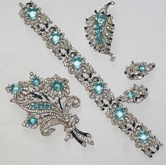 Trifari Floral Enamel Rhinestone Aqua Bracelet Two Pin Clips Earrings Set 1940