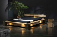The Idea of a Natural Wooden Bed Stage Wood Bed Design, Bed Frame Design, Bedroom Bed Design, Home Decor Bedroom, Modern Bedroom, Master Bedroom, Wood Bedroom Furniture, Wood Pallet Furniture, Furniture Design