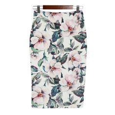 BEFORW Vintage High Waist Skirts Women Summer Office Pencil Skirt Fashion Casual White Rose Flower Print Knee Skirt XXL Saia