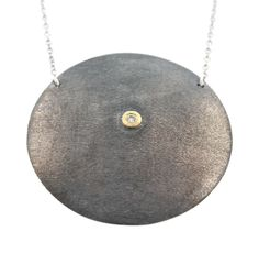 David Tishbi Large Black Disc Necklace - 40MM Oxidized Sterling Silver with White Diamond in Gold Bezel large Black Disc Necklace