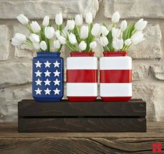 Flag jars - makes a cute 4th of July centerpiece!