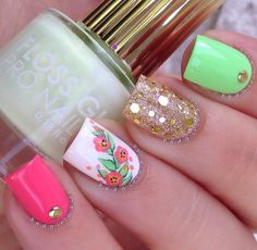 Pink, green, gold, glitter & floral