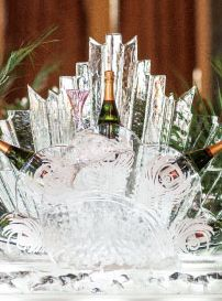 Ice Sculpture Bottle Holder. Events By Vento Designs. We Go Beyond Fundraising & Corporate Events...Complete & Month-Of Wedding Services! Visit Us: www.eventsbyventodesigns.com