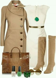 Love the boots and trench coat! Dress is pretty and the necklace really pops.
