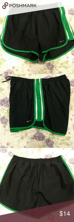 Nike running shorts Black With green stripes, lined, EUC. No rips, tears or stains on the inside or outside. Drawstring waist. Matching green Nike shirt in another listing of my closet. Bundle and save! Nike Shorts