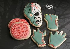 "Homemade Zombie ""Brains"" cookies. Creepy and delicious!"