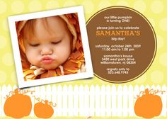 Pumpkin bday invites