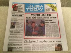 USA TODAY NEWSPAPER BACK FUTURE OCTOBER 22 2015 PART 2 BTTF YOUTH JAILED MCFLY