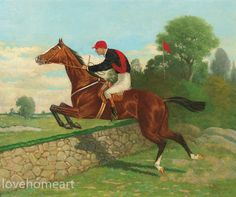 handpainted Henry Stull Steeplechasing - Over the Wall running horse oil painting on canvas for home decor wall art or gift Horse Oil Painting, Forms Of Poetry, American Saddlebred, Thoroughbred, Livestock, Illustration Art, Things To Come, Museum, Hand Painted