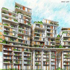 Conceptual Architecture, Architectural Drawings, Sketches, Building, Color, Drawings, Concept Architecture, Buildings, Colour