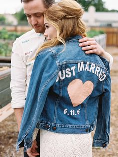 Pretty Little Fawn's Boho Vintage Rustic Inspired Wedding at The Riverbed Farm in Anaheim, CA. Just Married Custom Jean Jacket. Art & Soul Events Wedding.