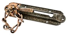 highly ornate 19th century antique american victorian cast iron entrance door chain bolt with partially intact copper-plated finish