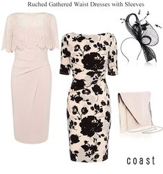 Coast wedding guest dresses with sleeves and slimming ruched gathered waist detail pastel pink and black print