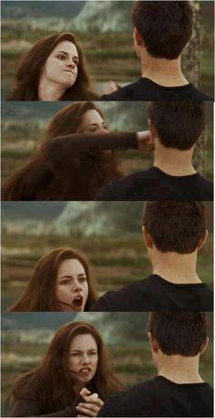 Bella broke her hand, punching my face, total misunderstanding Jacob Black Twilight, Twilight Wolf, Vampire Twilight, Twilight Edward, Twilight New Moon, Twilight Movie, Edward Bella, Twilight Saga Quotes, Twilight Saga Series