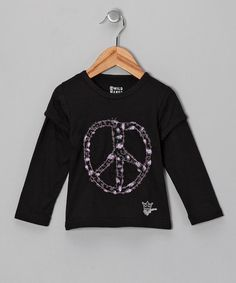 Take a look at this Black Peace Layered Tee - Toddler & Girls by Wild Mango Clothing Co. on #zulily today!