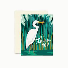 """Inspired by the water birds of coastal Florida, we painted this fine feathered friend on a lush and verdant river bank.  • Heavy, matte eggshell stock • Blank Inside • 4 1/4"""" x 5 1/2"""" • Paired with matching envelope  Our greeting cards are made from high-quality FSC recycled paper, printed locally & assembled by hand in our studio."""